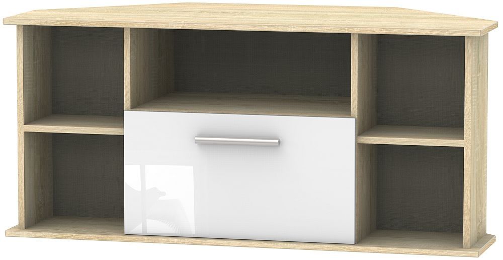 Contrast 1 Drawer Corner TV Unit - High Gloss White and Bardolino