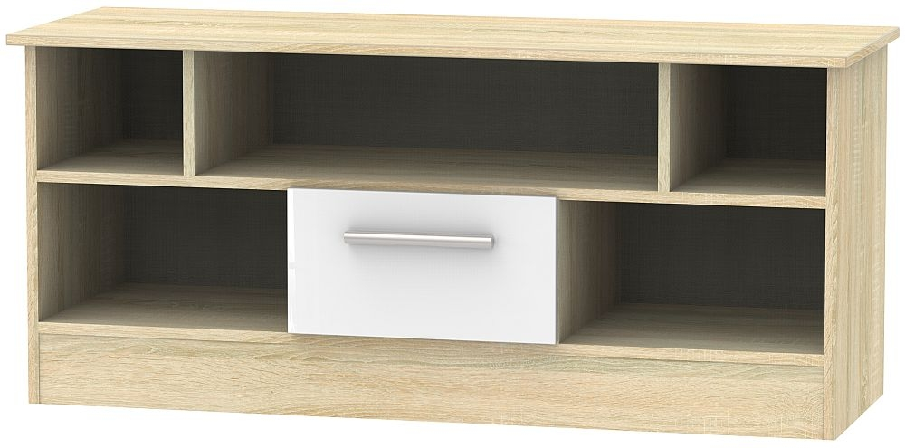 Contrast 1 Drawer Open TV Unit - High Gloss White and Bardolino