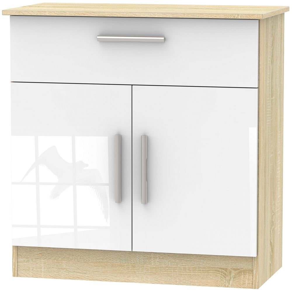 Contrast 2 Door 1 Drawer Narrow Sideboard High Gloss White And Bardolino