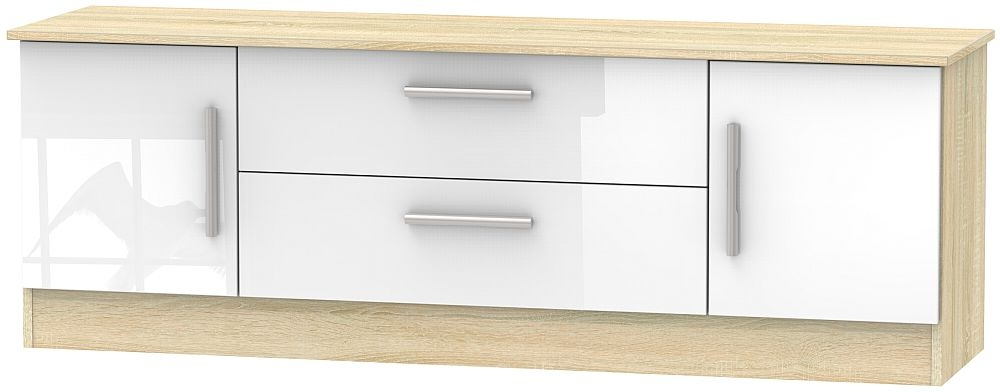 Contrast 2 Door 2 Drawer Wide TV Unit - High Gloss White and Bardolino