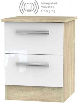Contrast 2 Drawer Bedside Cabinet with Integrated Wireless Charging - High Gloss White and Bardolino