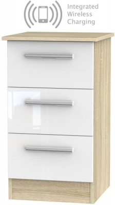Contrast 3 Drawer Bedside Cabinet with Integrated Wireless Charging - High Gloss White and Bardolino