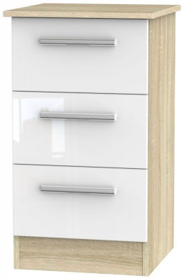 Contrast 3 Drawer Bedside Cabinet - High Gloss White and Bardolino