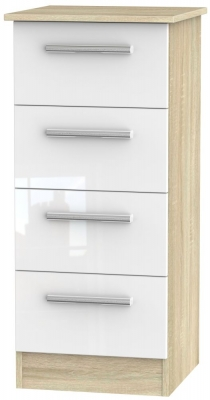 Contrast 4 Drawer Tall Chest - High Gloss White and Bardolino