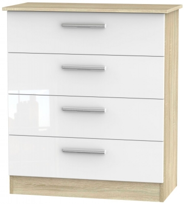 Contrast 4 Drawer Chest - High Gloss White and Bardolino
