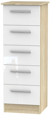 Contrast 5 Drawer Tall Chest - High Gloss White and Bardolino