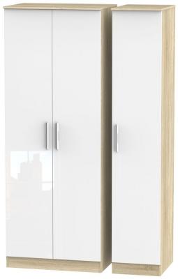 Contrast 3 Door Wardrobe - High Gloss White and Bardolino