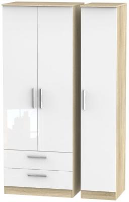 Contrast 3 Door 2 Drawer Wardrobe - High Gloss White and Bardolino