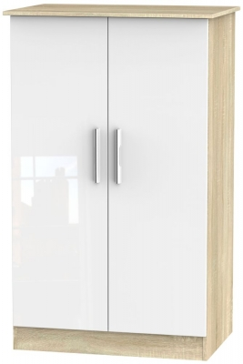 Contrast 2 Door Midi Wardrobe - High Gloss White and Bardolino