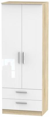 Contrast 2 Door 2 Drawer Wardrobe - High Gloss White and Bardolino