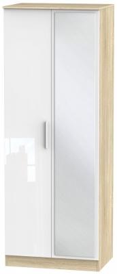 Contrast 2 Door Mirror Wardrobe - High Gloss White and Bardolino