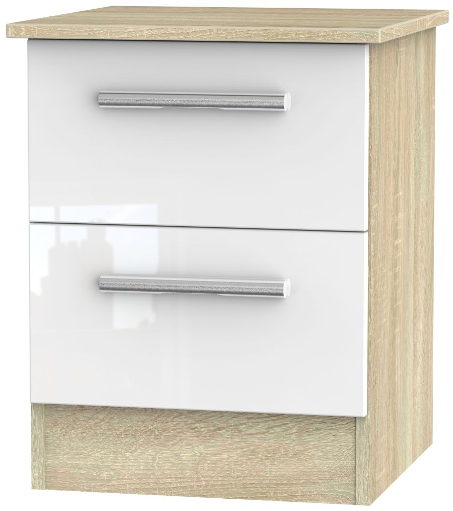 Contrast High Gloss White and Bardolino 2 Drawer Locker Bedside Cabinet