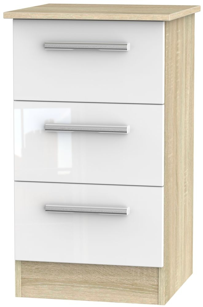 Contrast High Gloss White and Bardolino Bedside Cabinet - 3 Drawer Locker