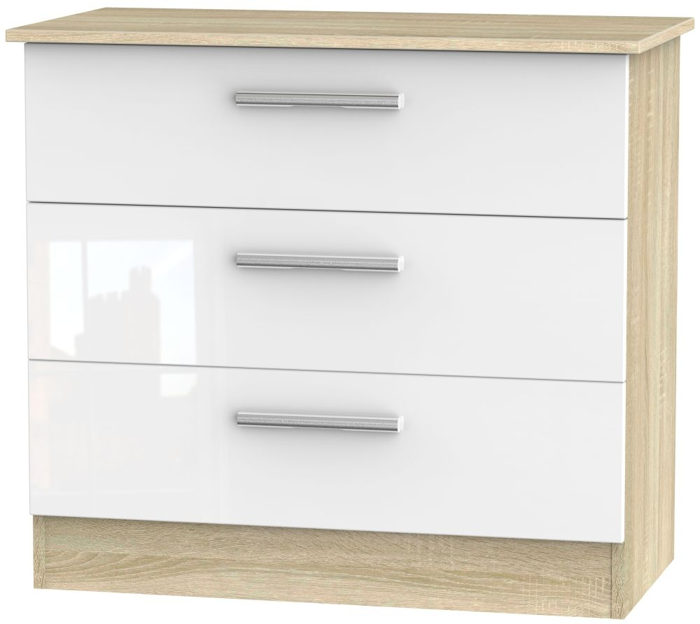 Contrast 3 Drawer Chest - High Gloss White and Bardolino