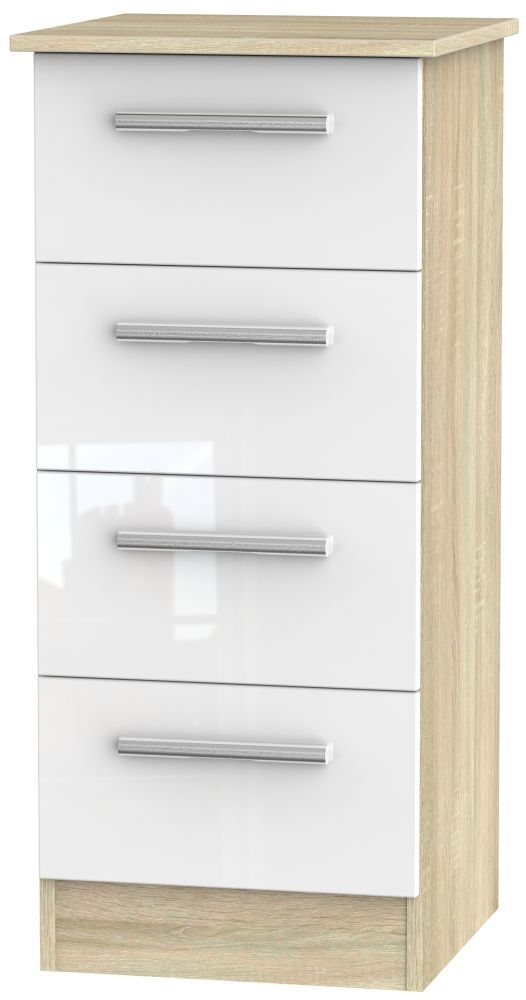 Contrast High Gloss White and Bardolino Chest of Drawer - 4 Drawer Locker