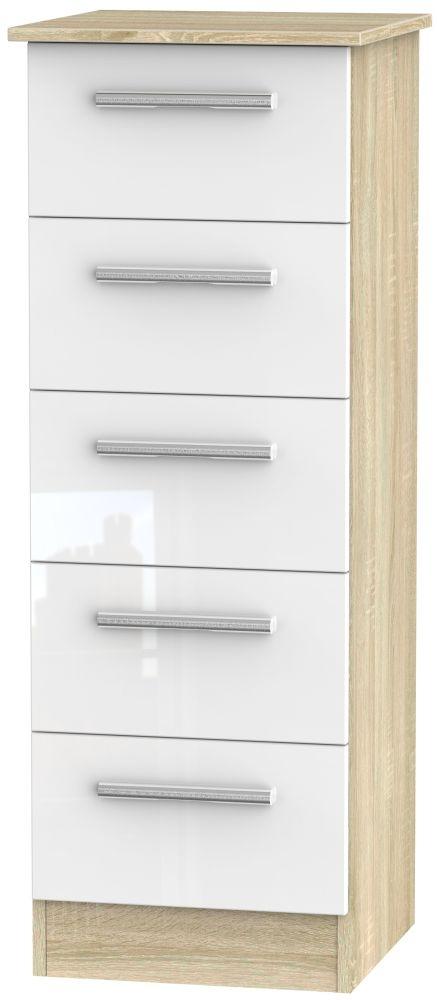 Contrast High Gloss White and Bardolino 5 Drawer Locker Chest
