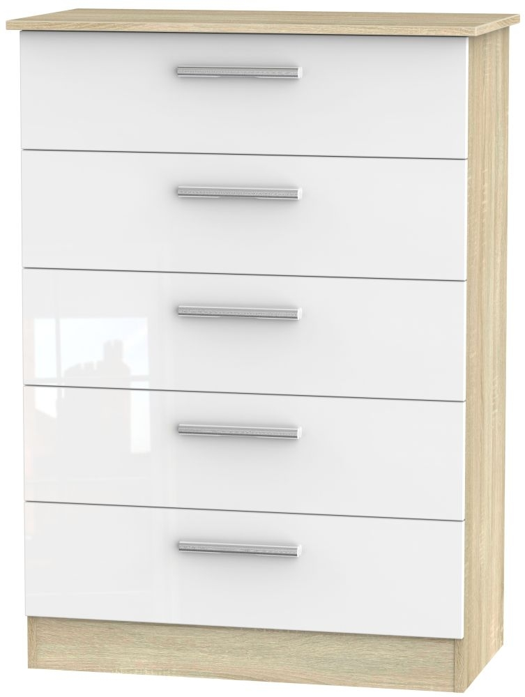 Contrast 5 Drawer Chest - High Gloss White and Bardolino