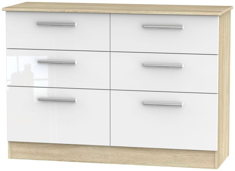 Contrast High Gloss White and Bardolino 6 Drawer Midi Chest
