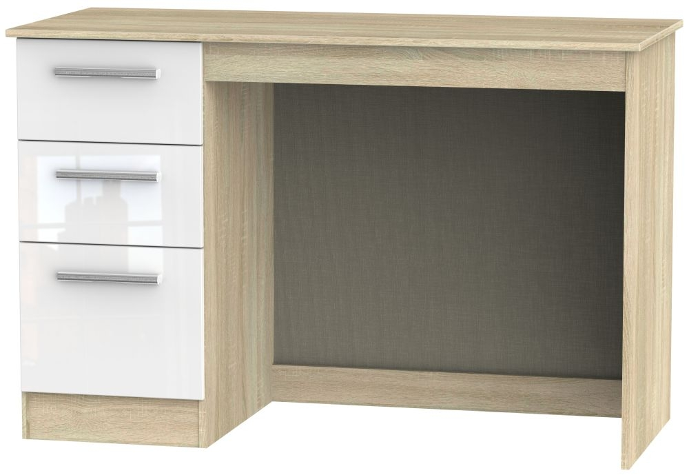 Contrast Desk - High Gloss White and Bardolino