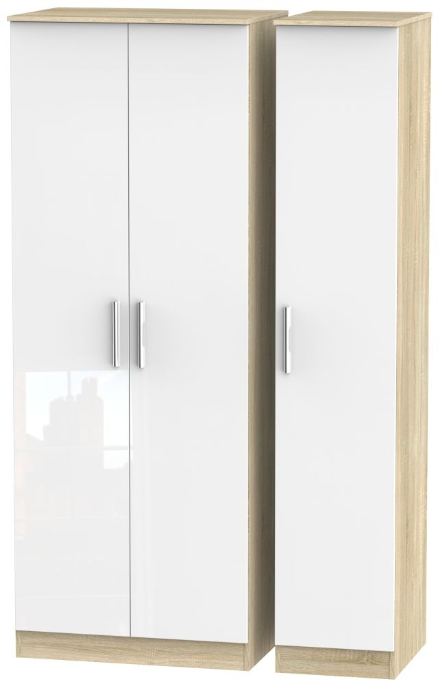 Contrast 3 Door Wardrobe - High Gloss White and Bardolino