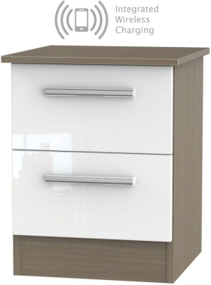 Contrast 2 Drawer Bedside Cabinet with Integrated Wireless Charging - High Gloss White and Toronto Walnut