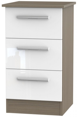 Contrast 3 Drawer Bedside Cabinet - High Gloss White and Toronto Walnut