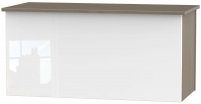 Contrast Blanket Box - High Gloss White and Toronto Walnut