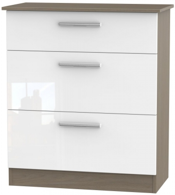 Contrast 3 Drawer Deep Chest - High Gloss White and Toronto Walnut