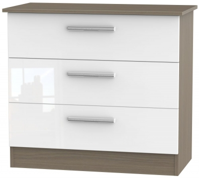 Contrast 3 Drawer Chest - High Gloss White and Toronto Walnut