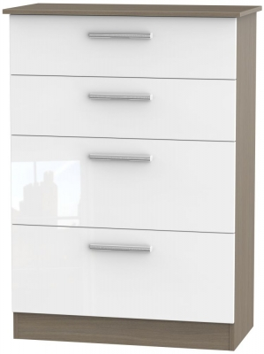 Contrast 4 Drawer Deep Chest - High Gloss White and Toronto Walnut