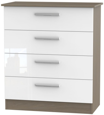 Contrast 4 Drawer Chest - High Gloss White and Toronto Walnut