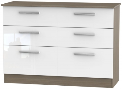 Contrast 6 Drawer Midi Chest - High Gloss White and Toronto Walnut