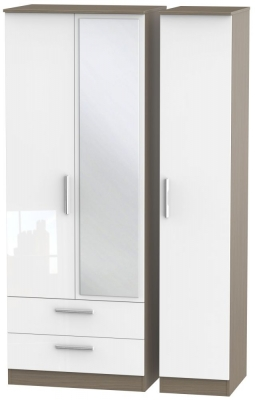 Contrast 3 Door Combi Wardrobe - High Gloss White and Toronto Walnut