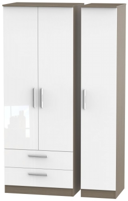 Contrast 3 Door 2 Drawer Wardrobe - High Gloss White and Toronto Walnut