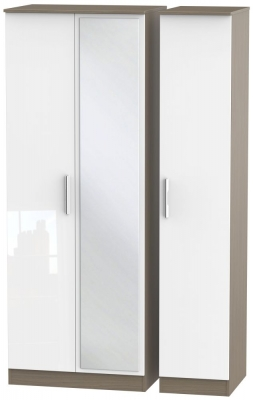 Contrast 3 Door Mirror Wardrobe - High Gloss White and Toronto Walnut