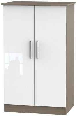 Contrast 2 Door Midi Wardrobe - High Gloss White and Toronto Walnut