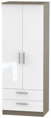 Contrast 2 Door 2 Drawer Wardrobe - High Gloss White and Toronto Walnut