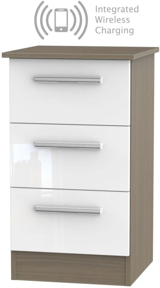 Contrast 3 Drawer Bedside Cabinet with Integrated Wireless Charging - High Gloss White and Toronto Walnut