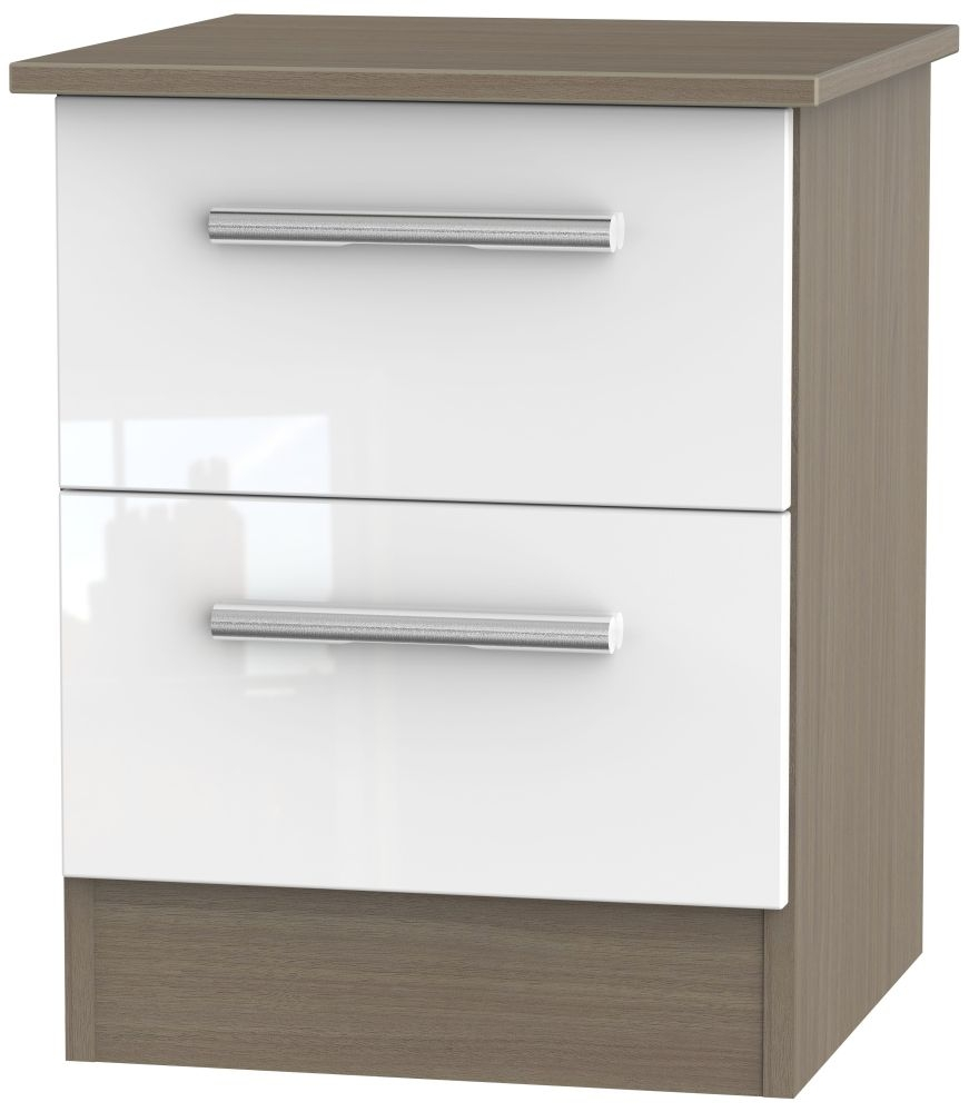 Contrast 2 Drawer Bedside Cabinet - High Gloss White and Toronto Walnut
