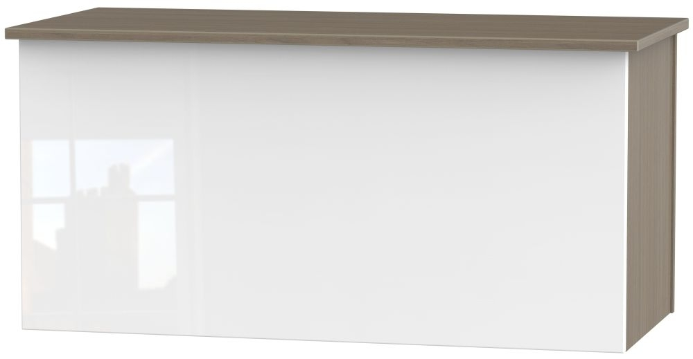 Contrast Blanket Box - High Gloss White and Toronto Walnut