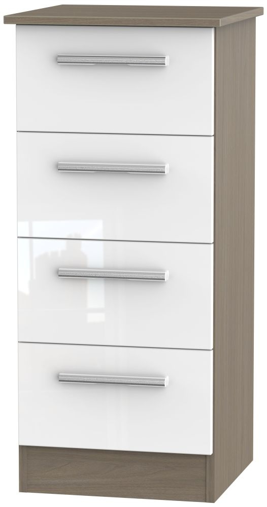 Contrast 4 Drawer Tall Chest - High Gloss White and Toronto Walnut