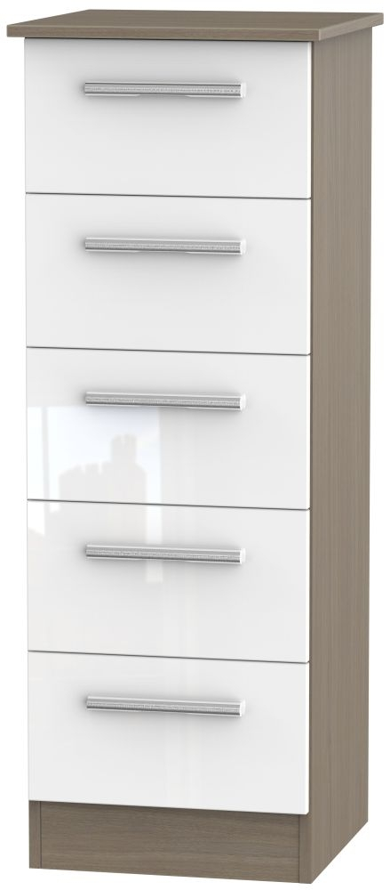 Contrast 5 Drawer Tall Chest - High Gloss White and Toronto Walnut
