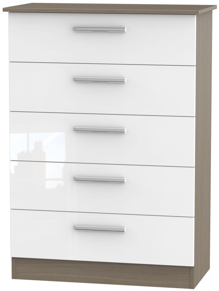Contrast 5 Drawer Chest - High Gloss White and Toronto Walnut