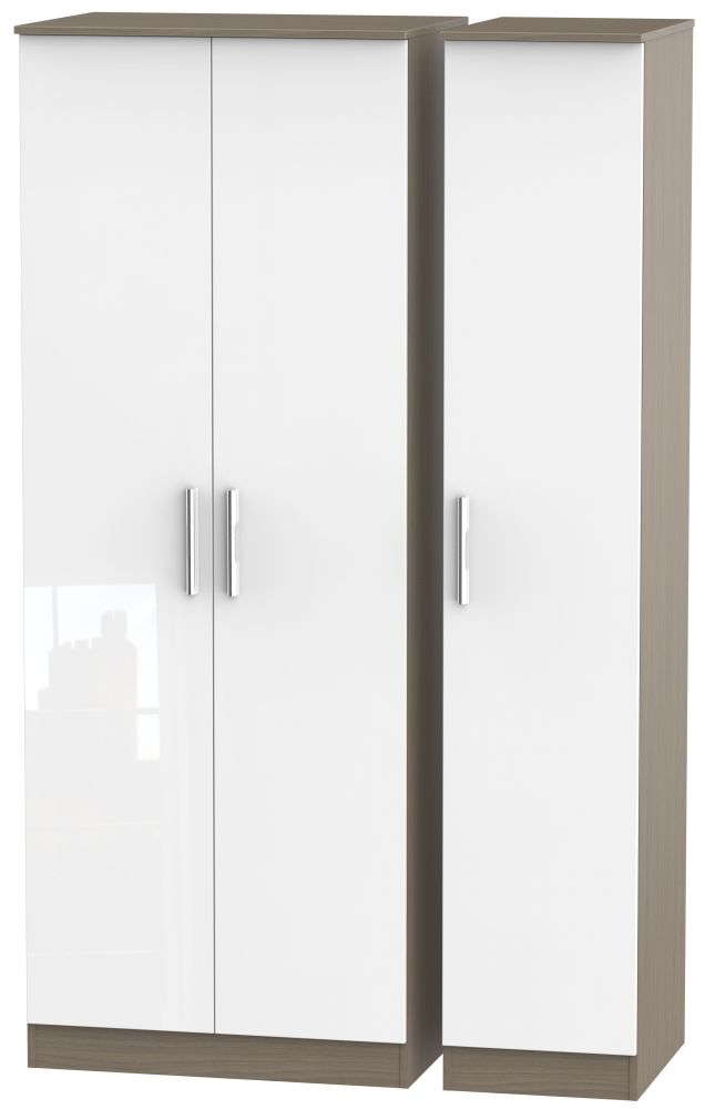 Contrast High Gloss White and Toronto Walnut 3 Door Tall Plain Triple Wardrobe