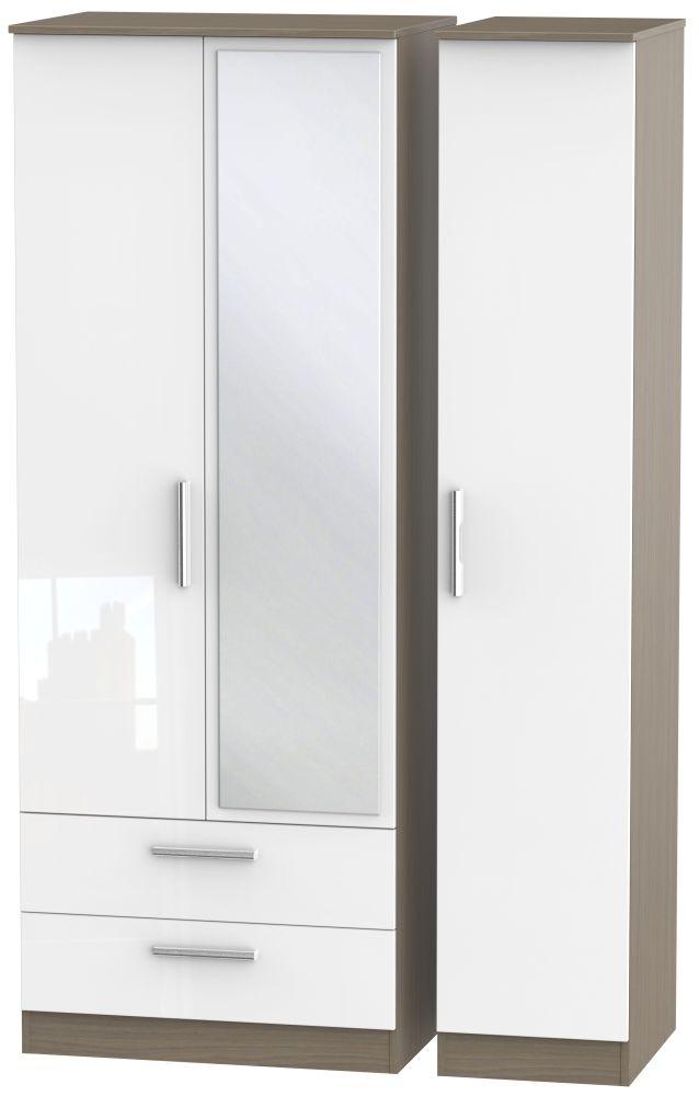 Contrast 3 Door Combi Wardrobe - High Gloss White and Toronto Walnut