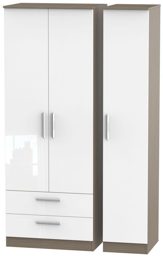 Contrast 3 Door 2 Drawer Wardrobe - High Gloss White and Toronto Walnut
