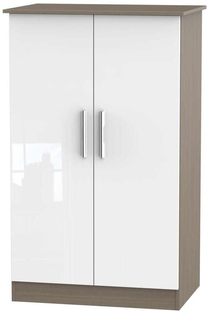 Contrast 2 Door Midi Wardrobe - High Gloss White and Toronto Walnut