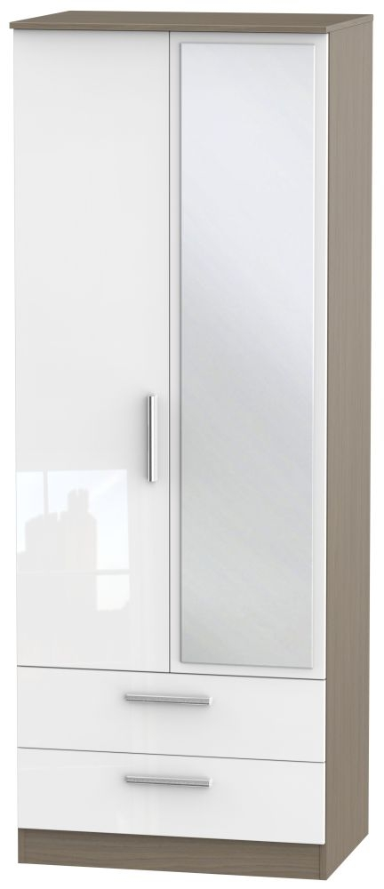Contrast 2 Door Combi Wardrobe - High Gloss White and Toronto Walnut