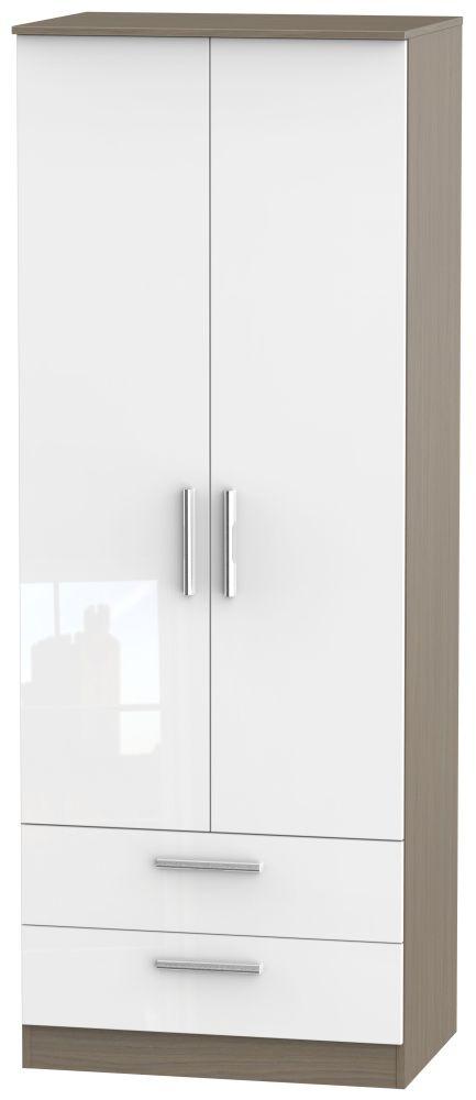 Contrast 2 Door 2 Drawer Wardrobe - High Gloss White and Toronto Walnut