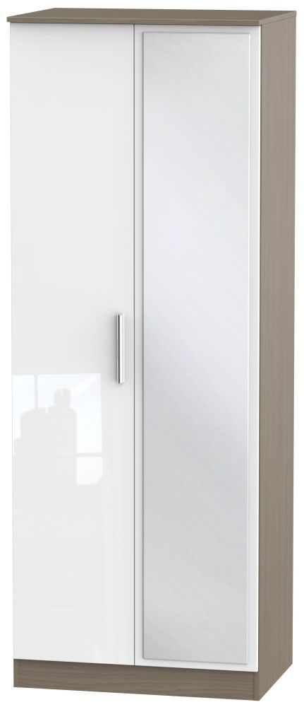 Contrast 2 Door Mirror Wardrobe - High Gloss White and Toronto Walnut